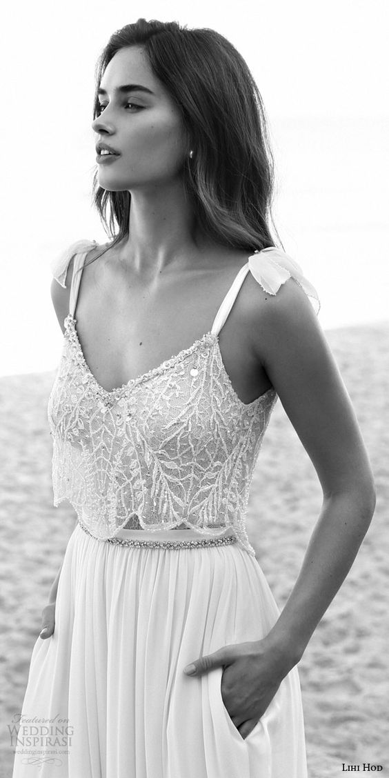 lihi hod bridal lucy sleeveless tie straps romantic beach wedding dresses