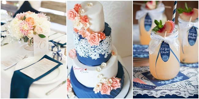 18 peach and navy blue inspired wedding color ideas 18 peach and navy blue inspired wedding ideas junglespirit Images