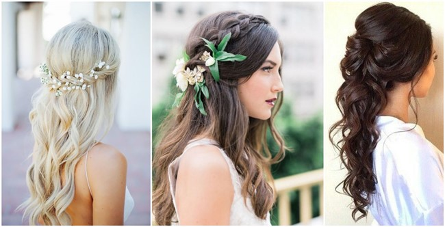 22 half up and half down wedding hairstyles to get you inspired junglespirit Choice Image