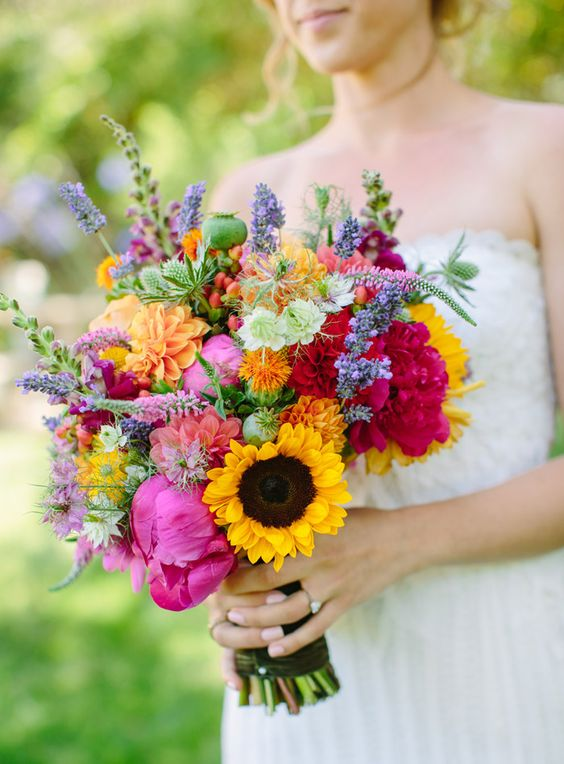 A colorful bouquet! Contact your flower team today to make this look!