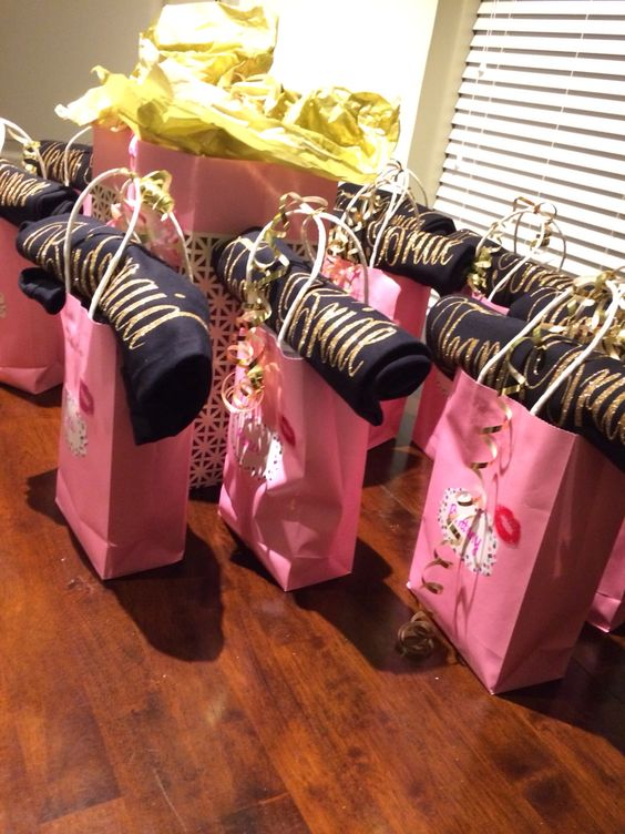 Bachelorette party welcome bags and hangover kits