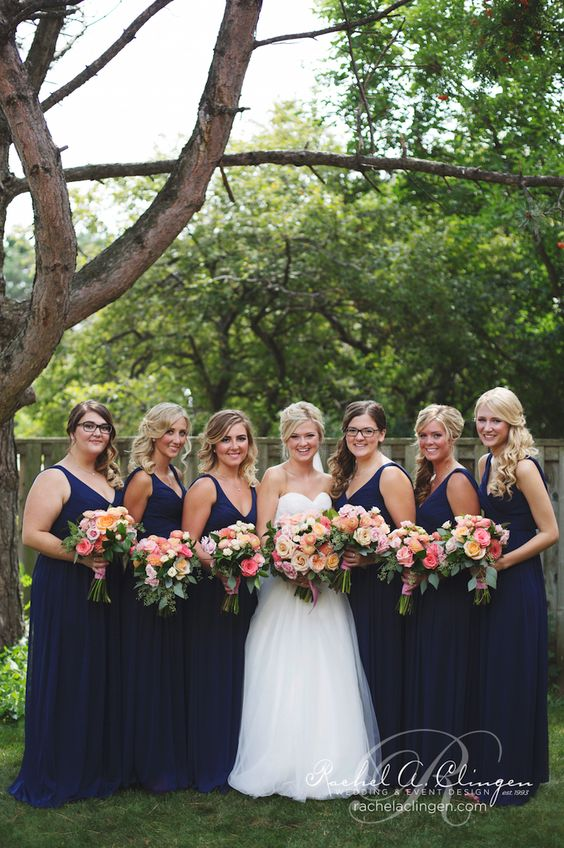 Beautiful Navy And Peach Wedding