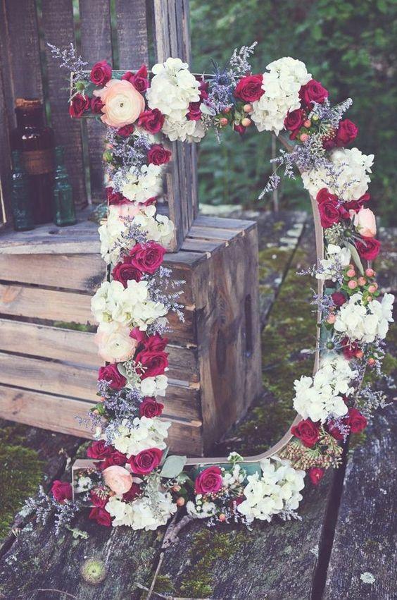 20 gorgeous boho wedding dcor ideas on pinterest page 2 bohemian giant floral initials wedding decor ideas junglespirit Image collections