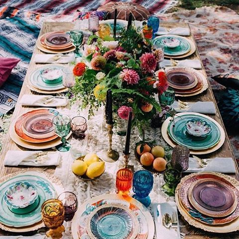 Bold bohemian accents and a jewel toned color palette