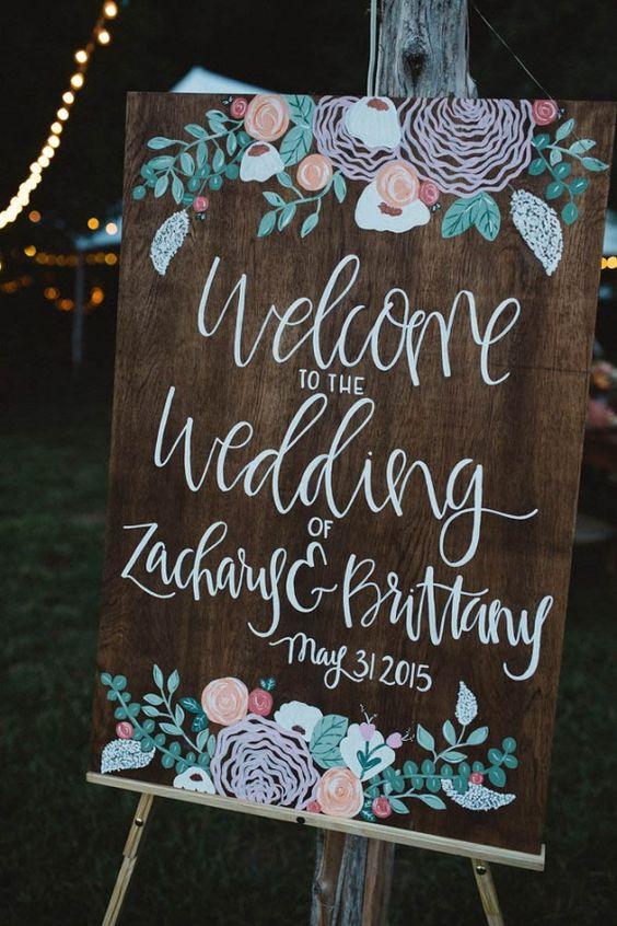 Botanical wedding signage for boho wedding Image by Michelle Lyerly