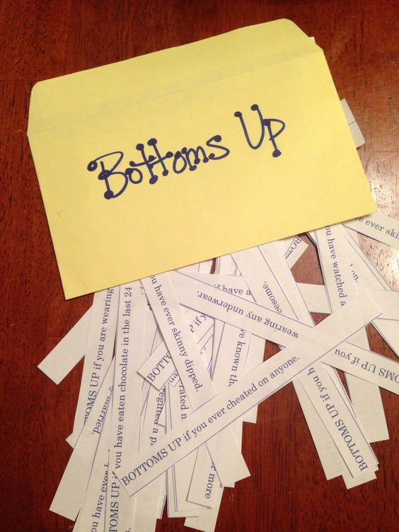 Bottoms Up.... Drinking game for bachelorette party