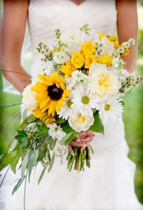 Bouquet of sunflowers, roses, daisies, asters