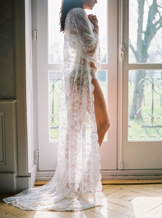 Bridal lingerie ideas under lace robe Chantilly lace robe
