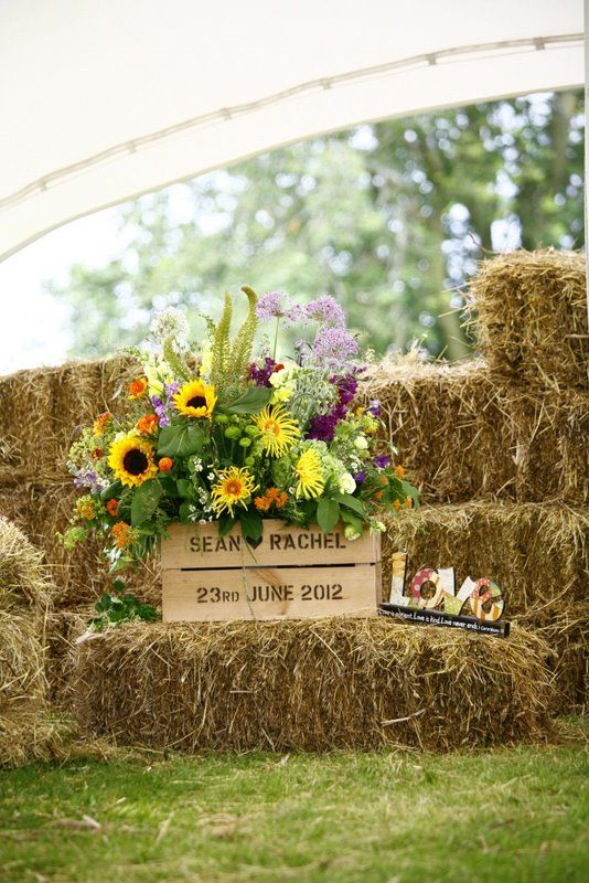 Bride & groom's name on the hay bales