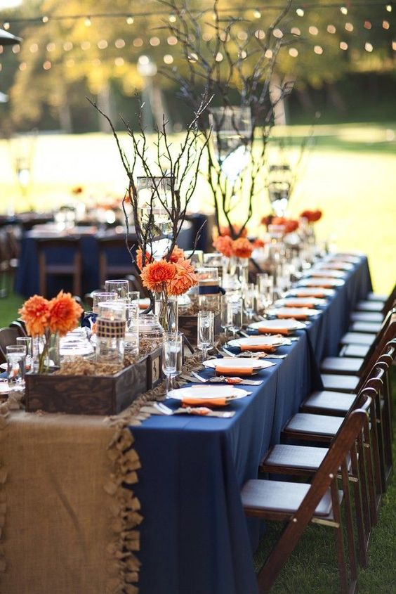Burlap and Navy Blue and Peach Wedding Table Decorations for Your Rustic Wedding