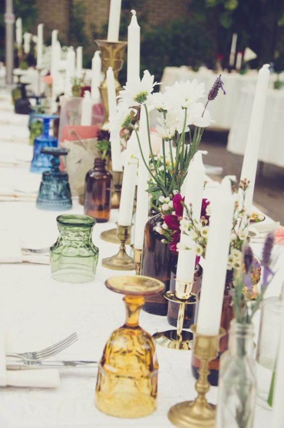 Colorful tablescape with brass candle holders