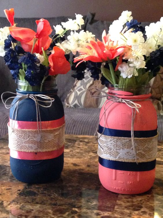 Coral Peach and Navy Blue Wedding Centerpieces Ideas