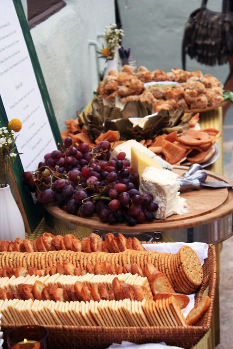 Crackers and cheese for wedding food bar