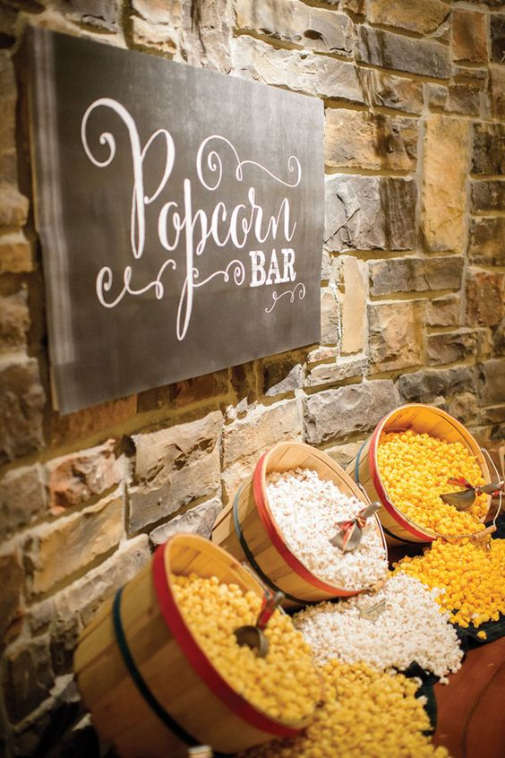 Ditch the wedding cake and dive into a popcorn bar