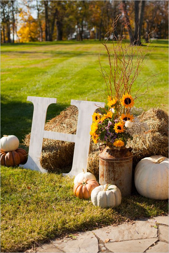 Fall Favorites Wedding Decorations with Hay bales