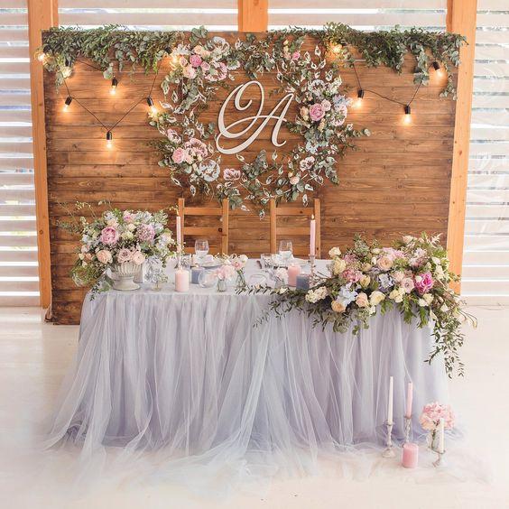 Flower and led light wedding backdrop