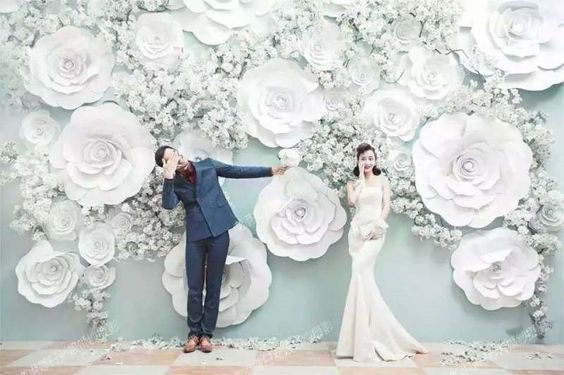 Foam Flower Backdrop White bunch for Wedding