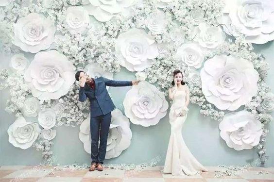 Foam Flower Backdrop White bunch for Wedding