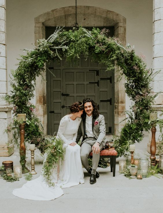 Greenery wreath backdrop spanish elopement