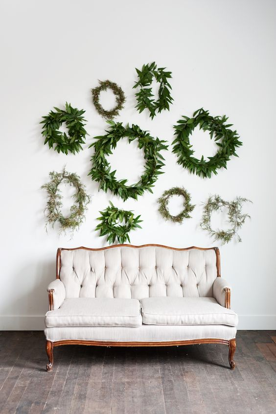 Greenery wreath wall wedding backdrop