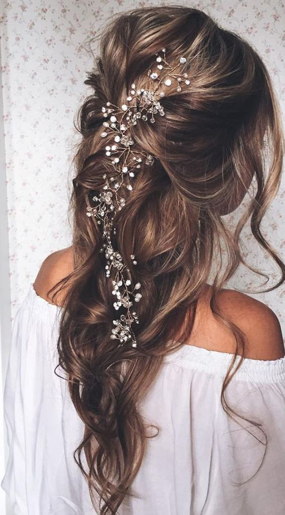 22 half up and half down wedding hairstyles to get you inspired hairstyles with exquisite headpieces junglespirit Choice Image
