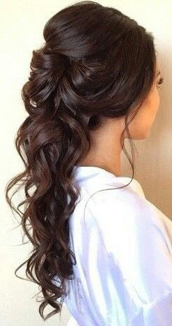 Half Up Half Down Wedding Hairstyles curly half updo for long hair Half Up Half Down Curly Hair