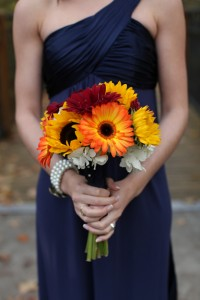 Handmade Sunflower Bouquets and a Navy Blue and Yellow Color Palatte