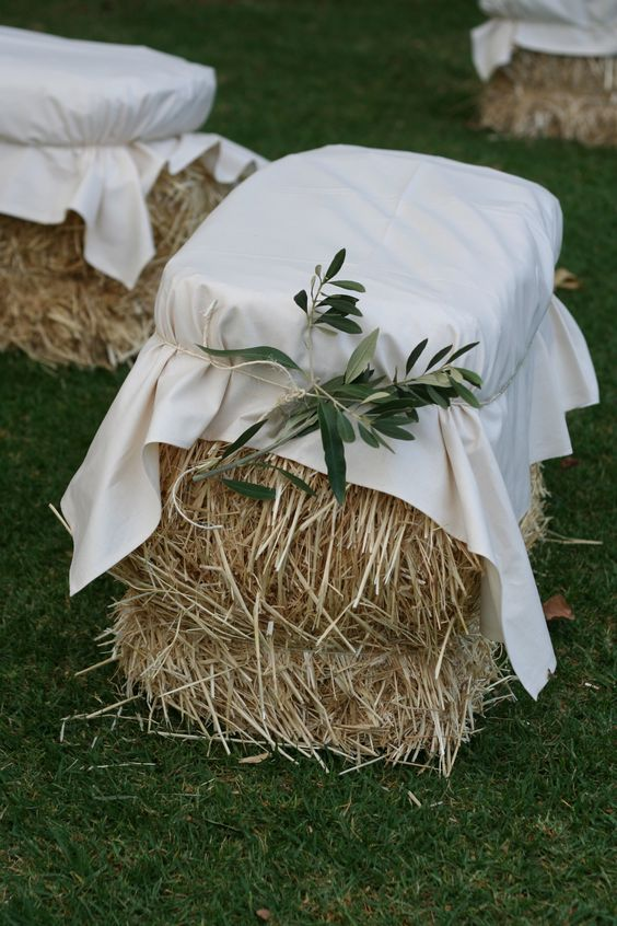 Hay Bale Seating Olive Branch Foliage