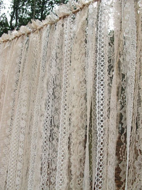 30 unique and breathtaking wedding backdrop ideas greenery vine wreath backdrop lace wedding backdrop curtains ivory lace solutioingenieria Images