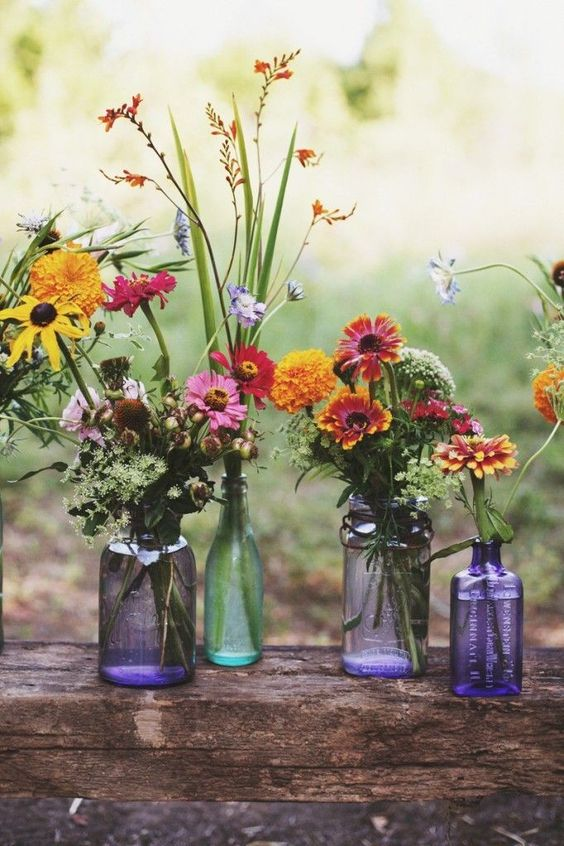 Mason jar and Wildflowers Wedding Ideas for Boho Wedding
