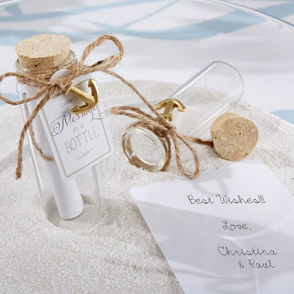 Message in a Bottle Beach Themed Wedding Favor Ideas