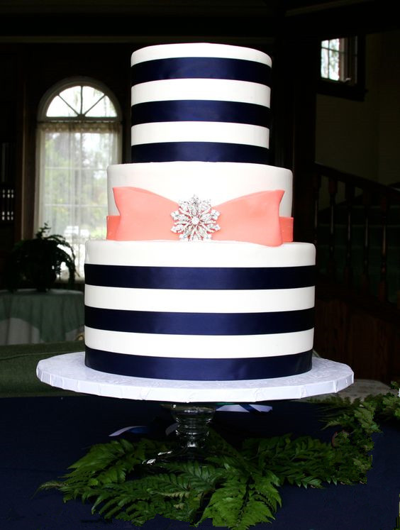 Navy Blue Satin Ribbons and Peach Fondant Bow