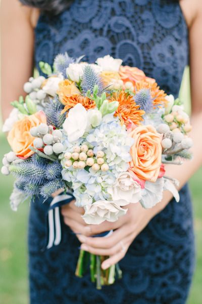 Navy Blue Wedding Dresses and Peach Bouquet