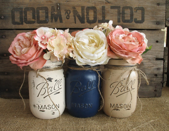Navy Blue and Peach Painted Mason Jars Rustic Centerpieces