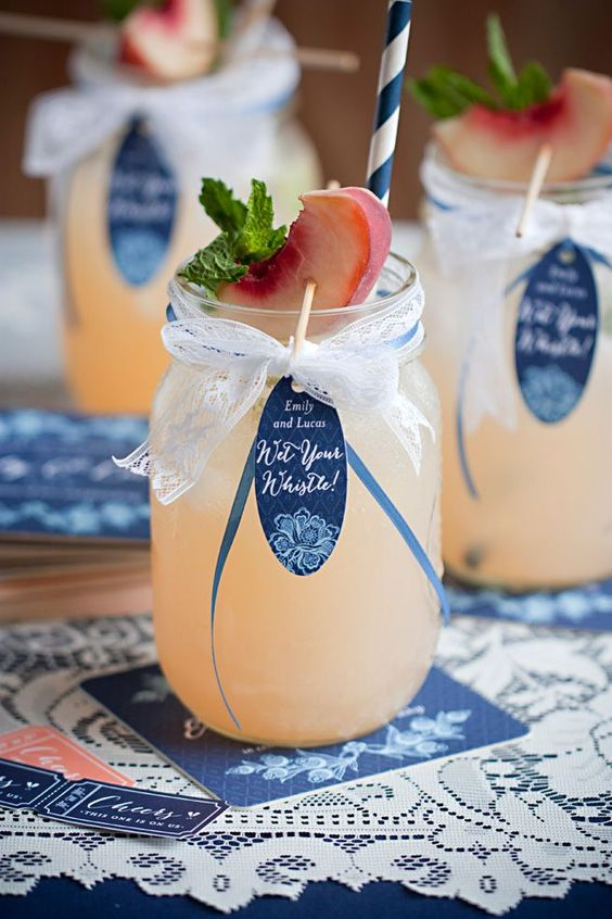 Navy Blue and Peach Wedding Reception Drink Ideas