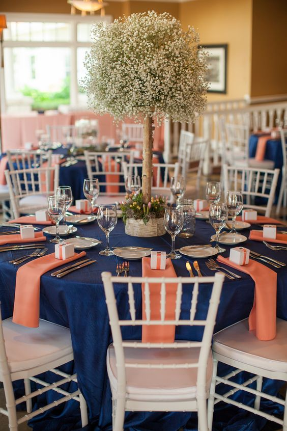 Navy u0026 Peach Bay Harbor Wedding Table Setting & 18 Peach and Navy Blue Inspired Wedding Color Ideas