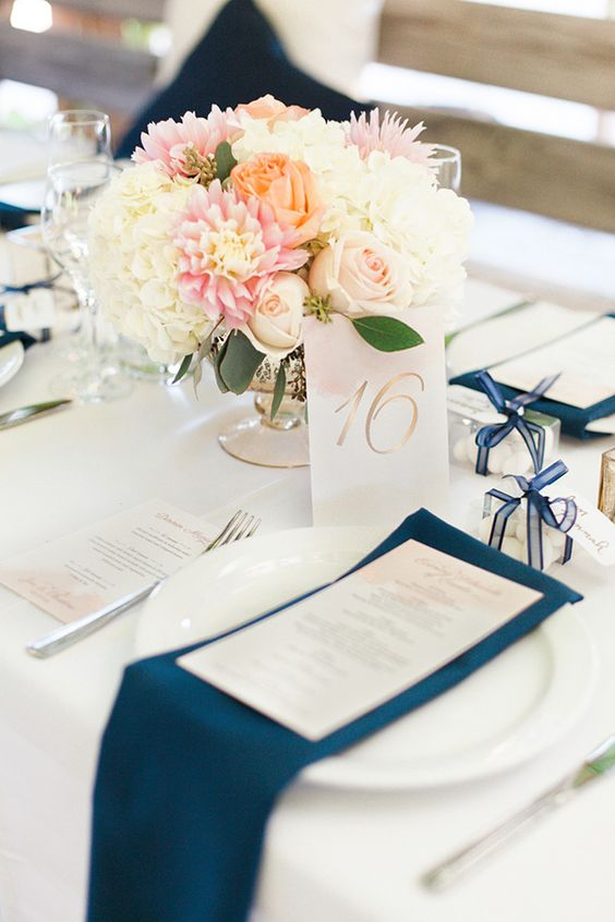 Navy and Blush&Peach Wedding Place Setting
