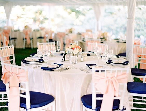 Navy Blue And Peach Wedding Event Design