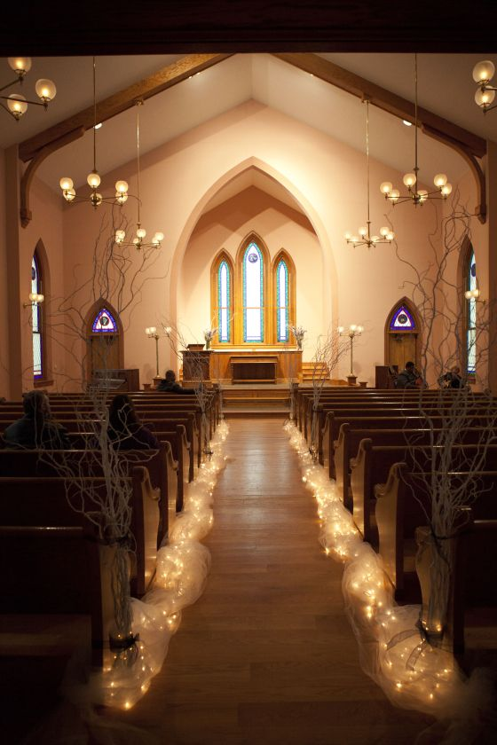 21 stunning church wedding aisle decoration ideas to steal ohio village church willow branches lined with lights make an elegant pathway junglespirit