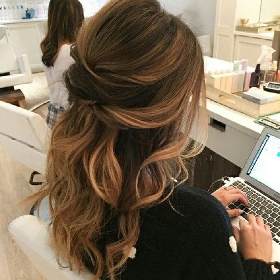 Partial updo wavy wedding hairstyle