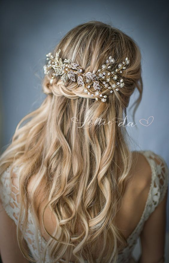 Partial wavy wedding hairstyle