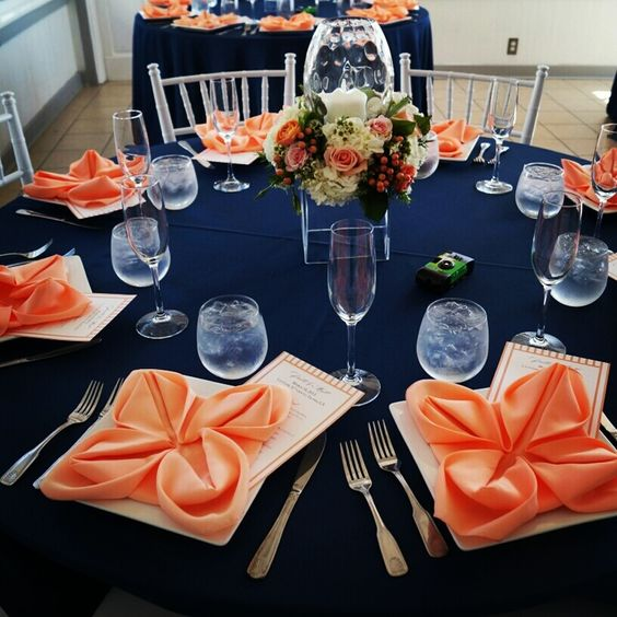Peach and navy blue table setting