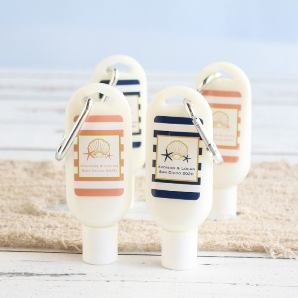 Personalized Sunscreen with Carabiner For Beach Wedding