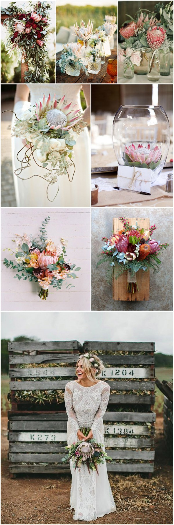 Protea bouquets and decorations for the wedding ceremony
