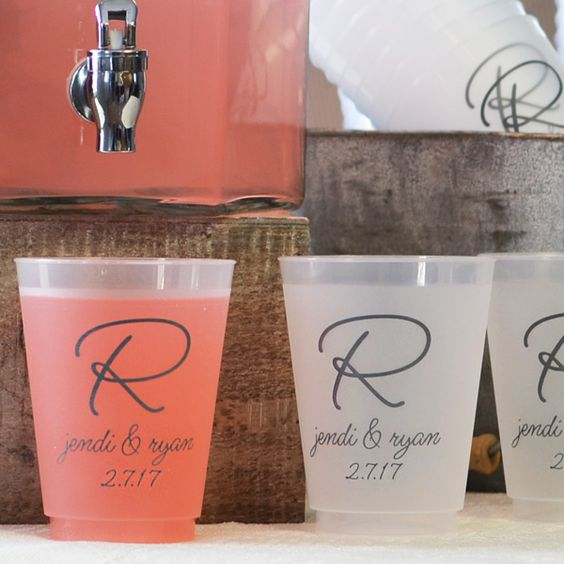 Reusable plastic cups custom printed with a wedding design