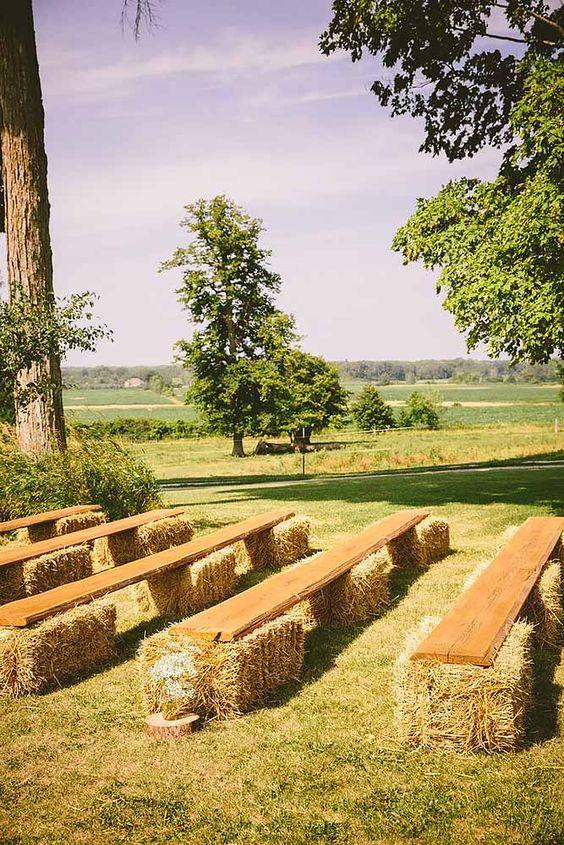 Rustic Hay Bale Wedding Reception Ideas