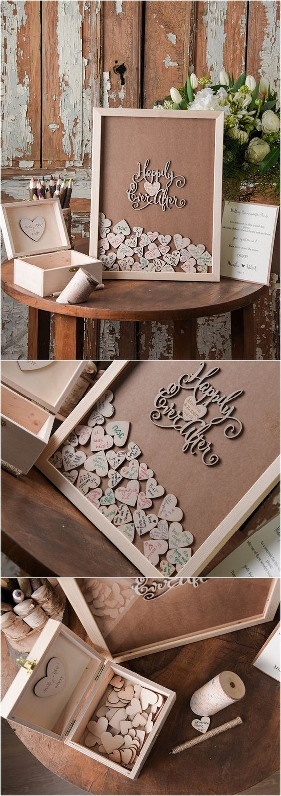 Rustic Laser Cut Wood Wedding Guest Book