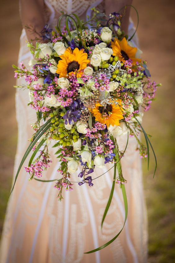 Rustic cascading wedding bouquet farmhouse wedding with beautiful sunflowers