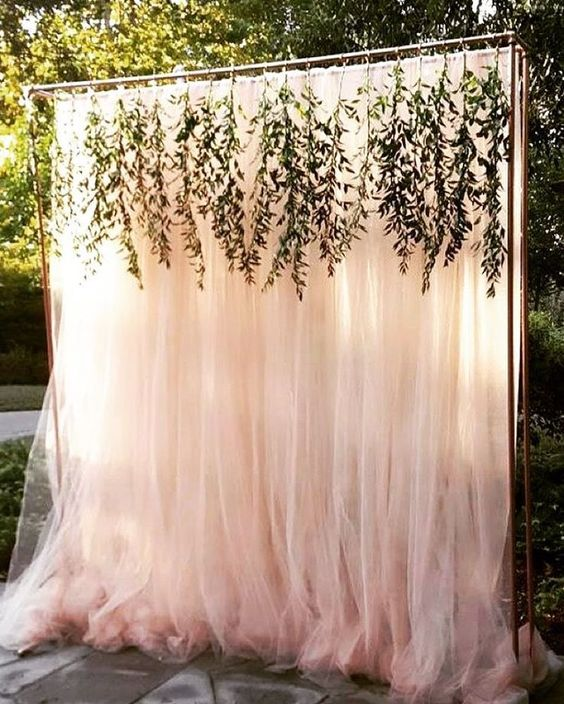 Rustic outdoor backyard tulle wedding backdrop ideas