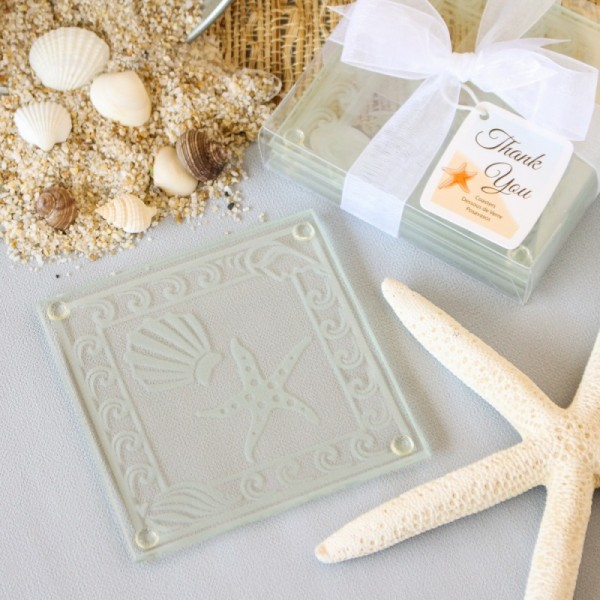 Shell and Starfish Frosted Glass Coasters Beach wedding favors
